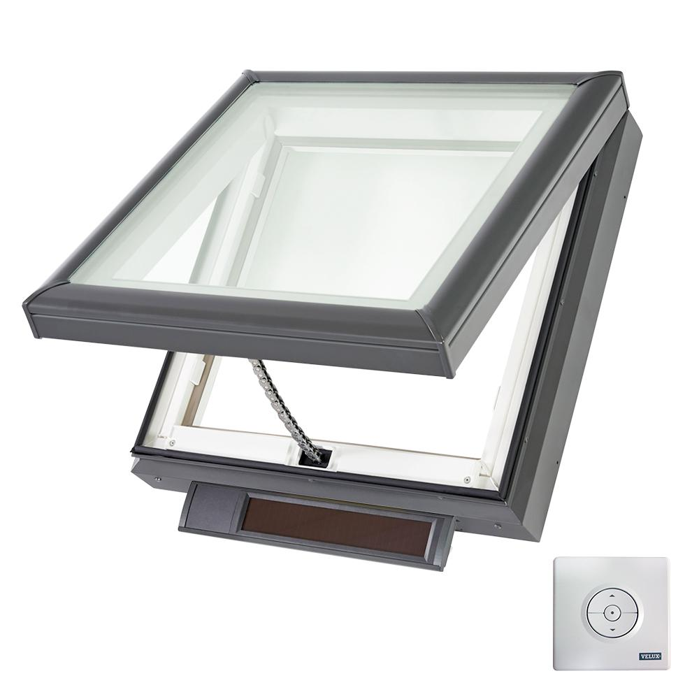 Velux 22 1 2 in x 22 1 2 in solar powered fresh air for Velux solar powered blinds
