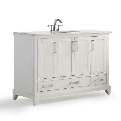 Elise 48 in. W x 21.5 in. D Bath Vanity in Soft White with Quartz Marble Vanity Top in Bombay White with White Basin
