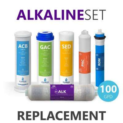 1 Year Alkaline Reverse Osmosis Set - 6 Filters with 100 GPD RO Membrane, Carbon (GAC, ACB, PAC) Filters, Sediment (SED)