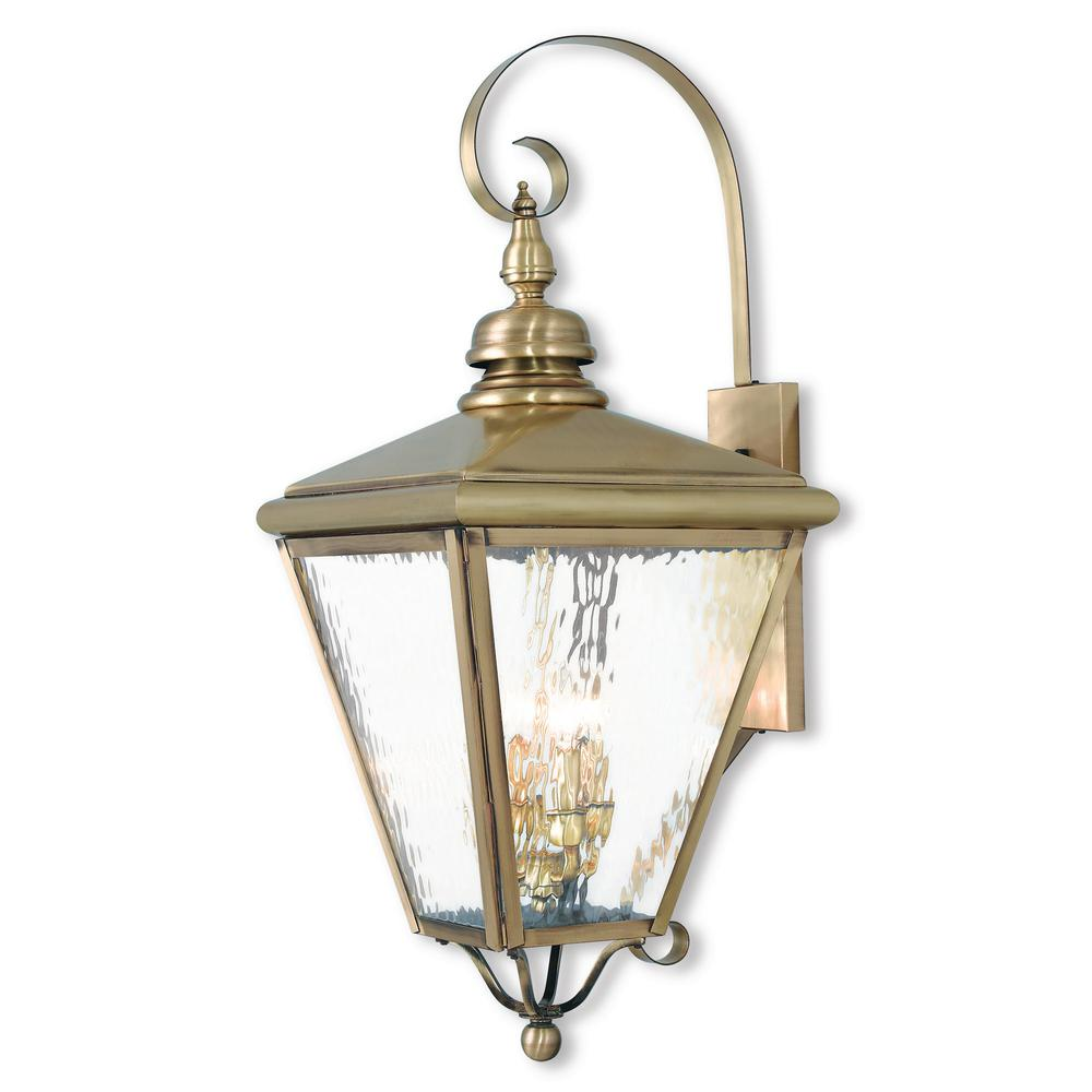 Livex Lighting Cambridge 4-Light Antique Brass Outdoor Wall Mount Lantern  sc 1 st  Home Depot & Livex Lighting Cambridge 4-Light Antique Brass Outdoor Wall Mount ... azcodes.com