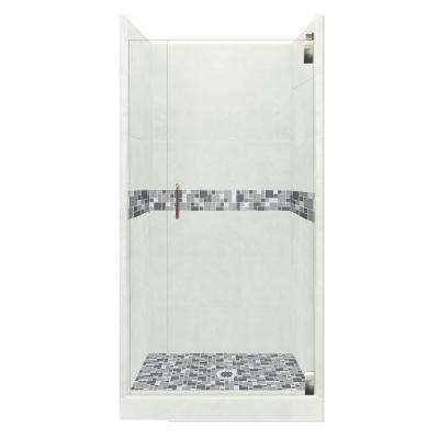 Newport Grand Hinged 36 in. x 36 in. x 80 in. Center Drain Alcove Shower Kit in Natural Buff and Chrome Hardware