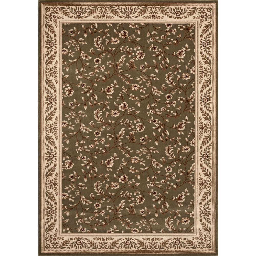 World Rug Gallery Manor House Green Floral 7 Ft 10 In X