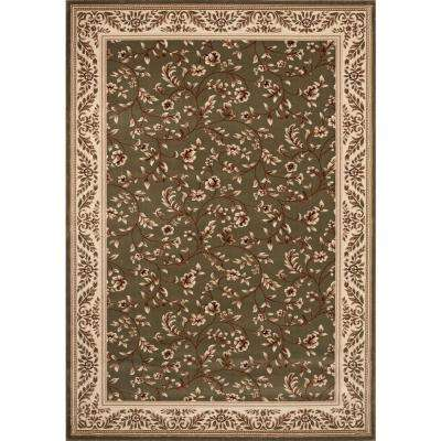 Manor House Green/Floral 8 ft. x 10 ft. Area Rug