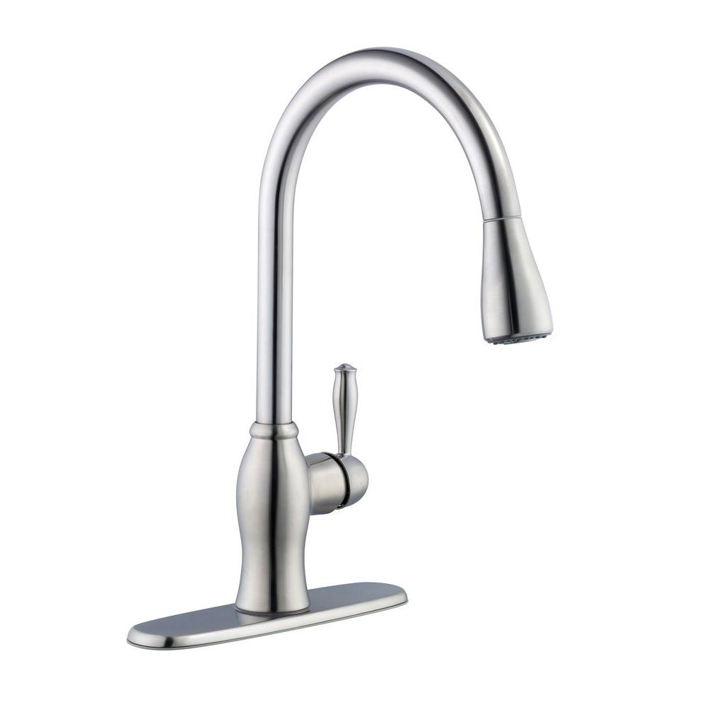 Pegasus 1050 Series Single-Handle Pull-Down Sprayer Kitchen Faucet in Stainless Steel