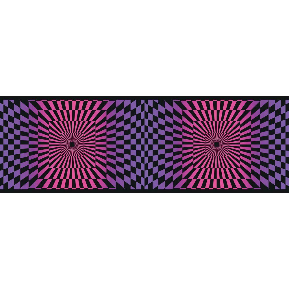 The Wallpaper Company 8 in. x 10 in. Pink and Purple Funky Optics Border Sample
