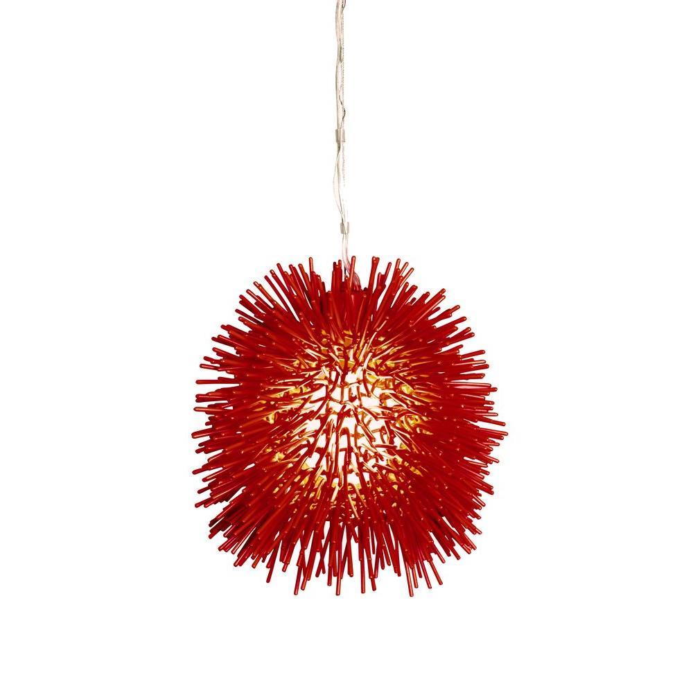 Red starburst mid century modern pendant lights lighting urchin 1 light super red mini pendant aloadofball Images