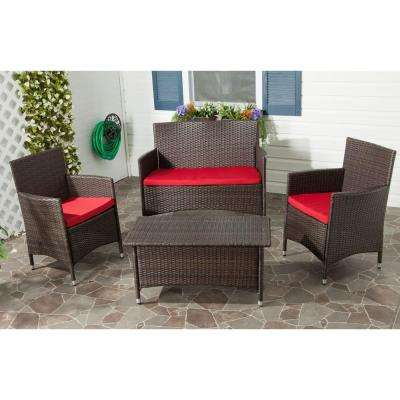 Mojavi Brown 4-Piece Outdoor Patio All Weather Wicker Conversation Set with Red Cushions