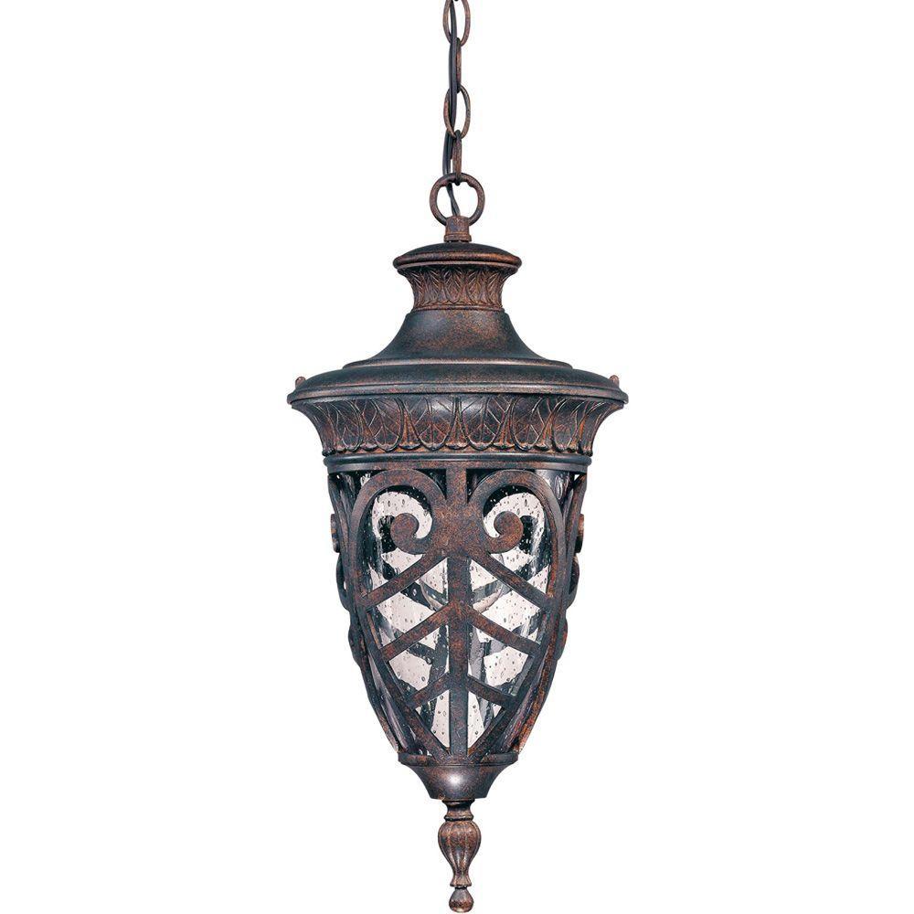 1-Light Outdoor Dark Plum Bronze Incandescent Ceiling Light