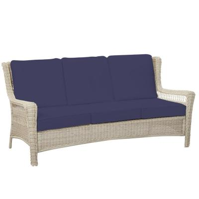 Park Meadows Off-White Wicker Outdoor Patio Sofa with CushionGuard Sky Blue Cushions
