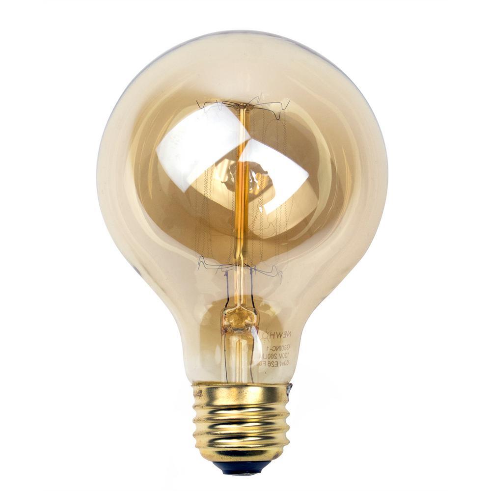 newhouse lighting 60 watt incandescent g25 thomas edison vintage filament globe light bulb. Black Bedroom Furniture Sets. Home Design Ideas