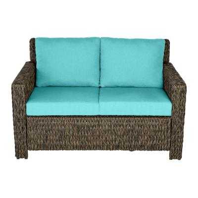 Laguna Point Brown Wicker Outdoor Patio Loveseat with CushionGuard Seaglass Turquoise Cushions