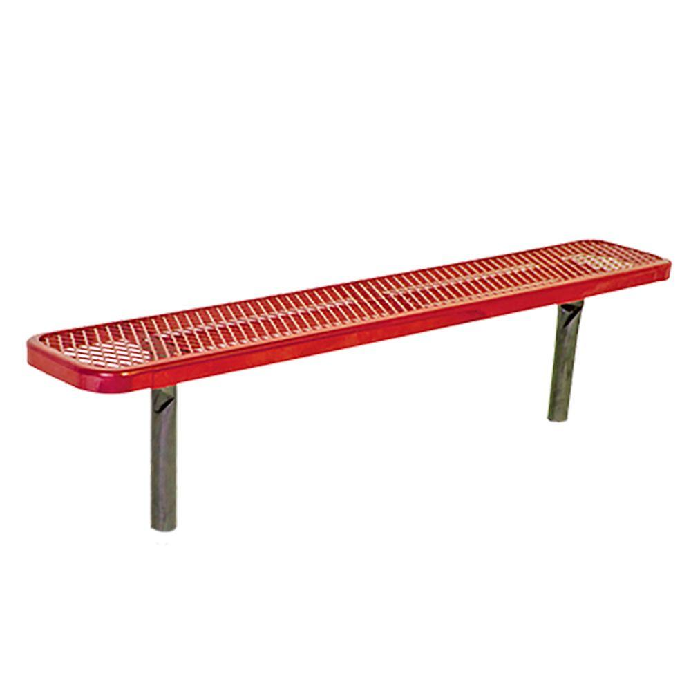 In-Ground 6 ft. Red Diamond Commercial Park Bench without Back