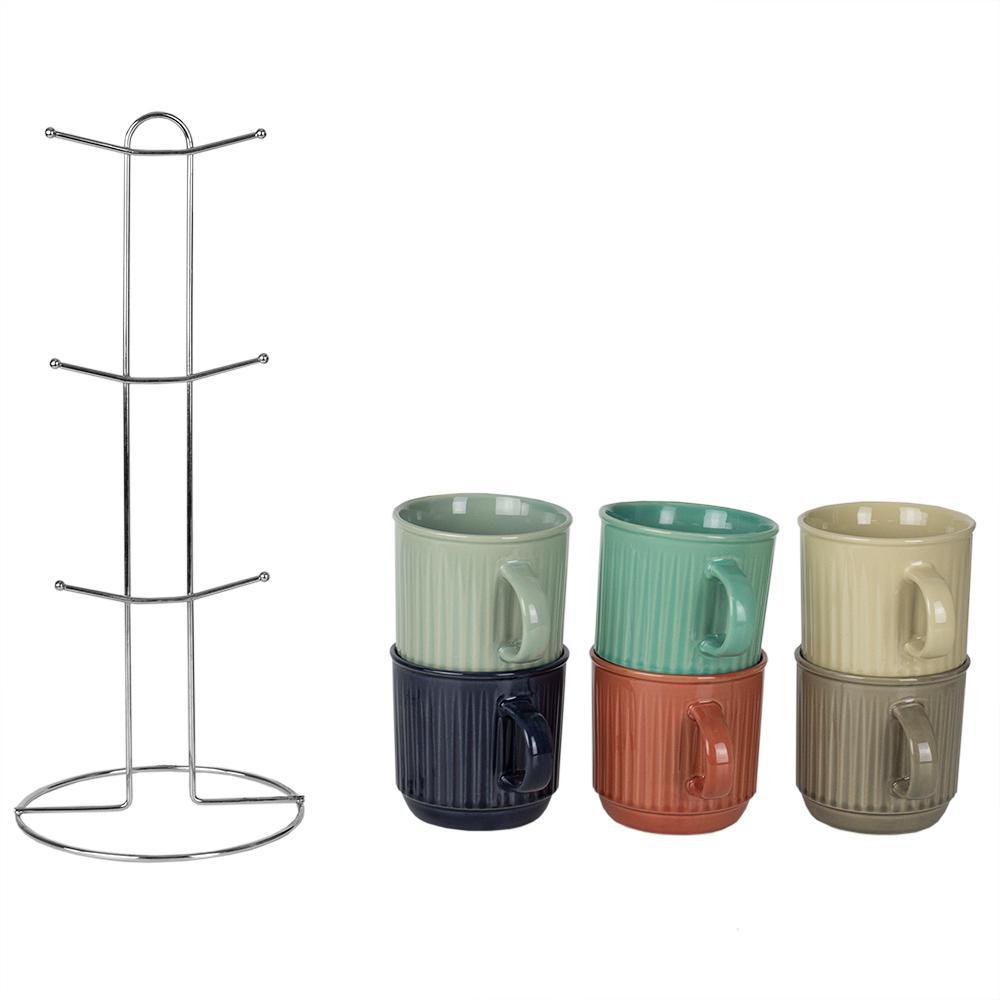 Pinstripe 6-Hook Multi-Color Mug Tree