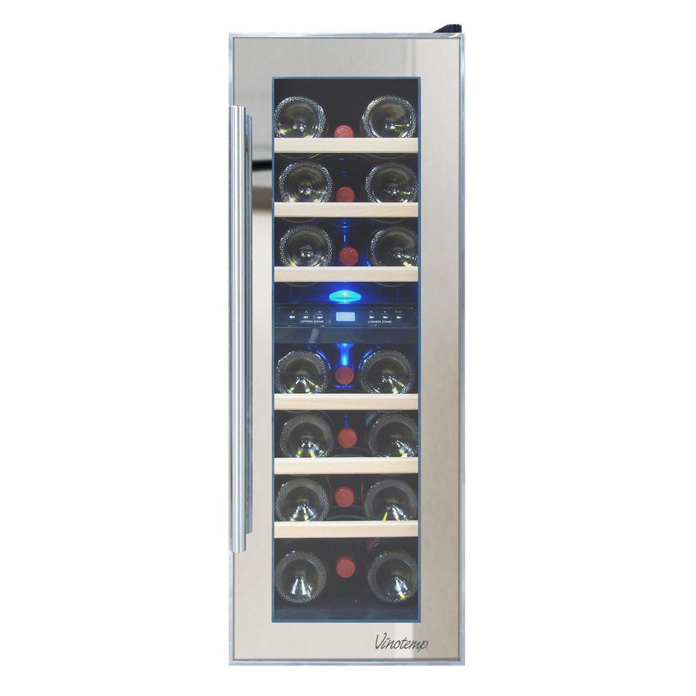 Vinotemp 11.875 in. 21-Bottle Dual Zone Thermoelectric Mirrored ...