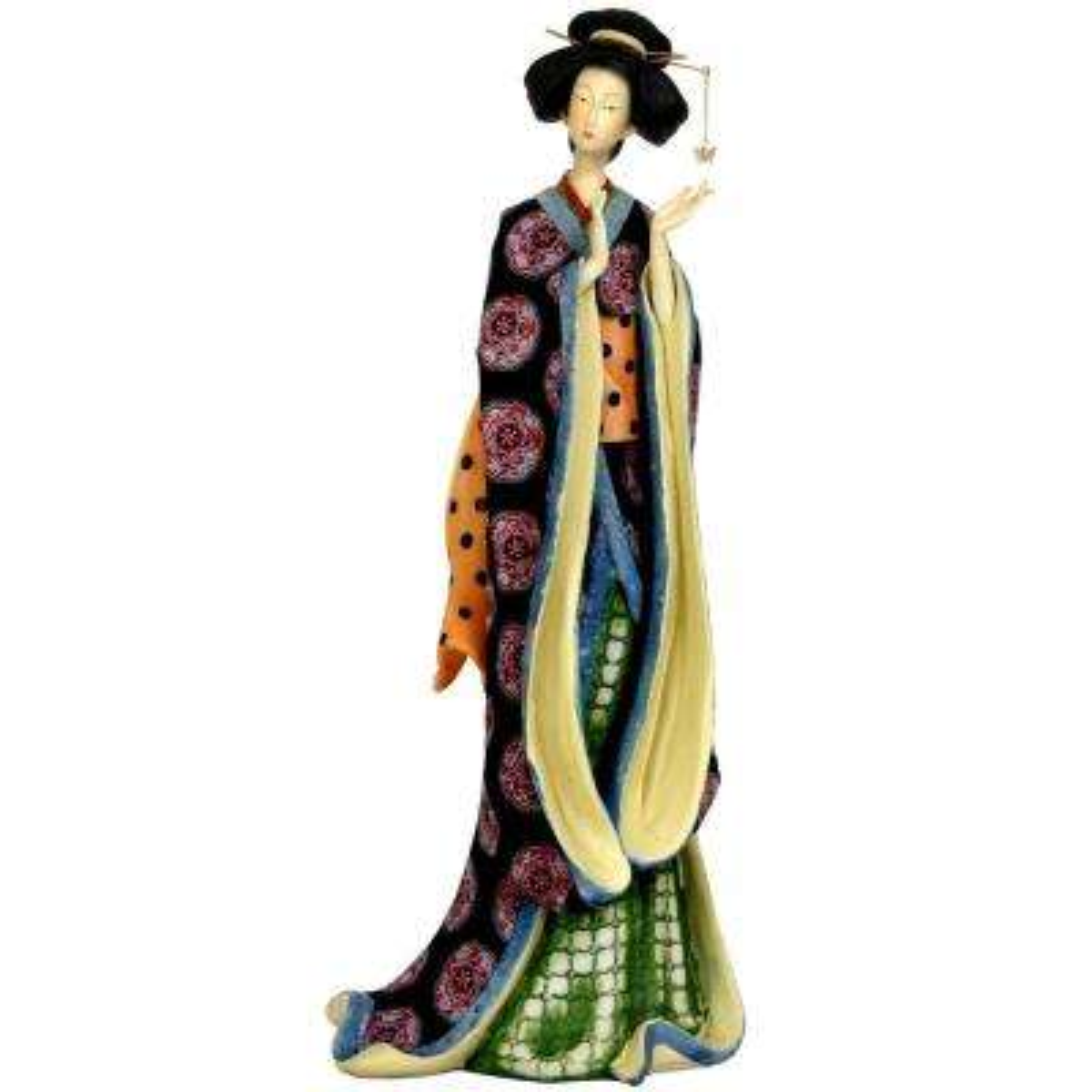 Oriental Furniture 18 in. Geisha with Pale Gold Sash Decorative Figurine