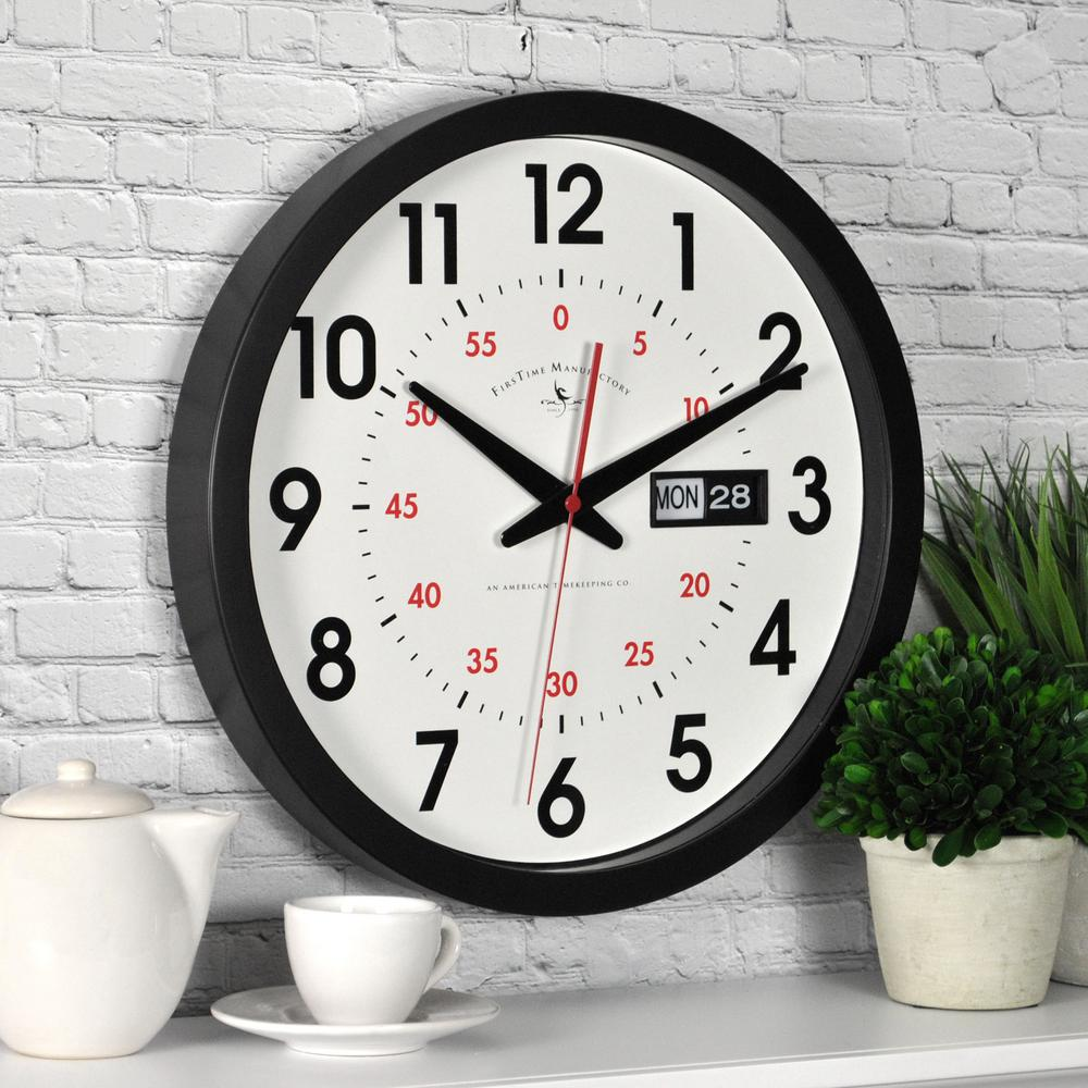 Wall clocks wall decor the home depot round day date wall clock amipublicfo Gallery