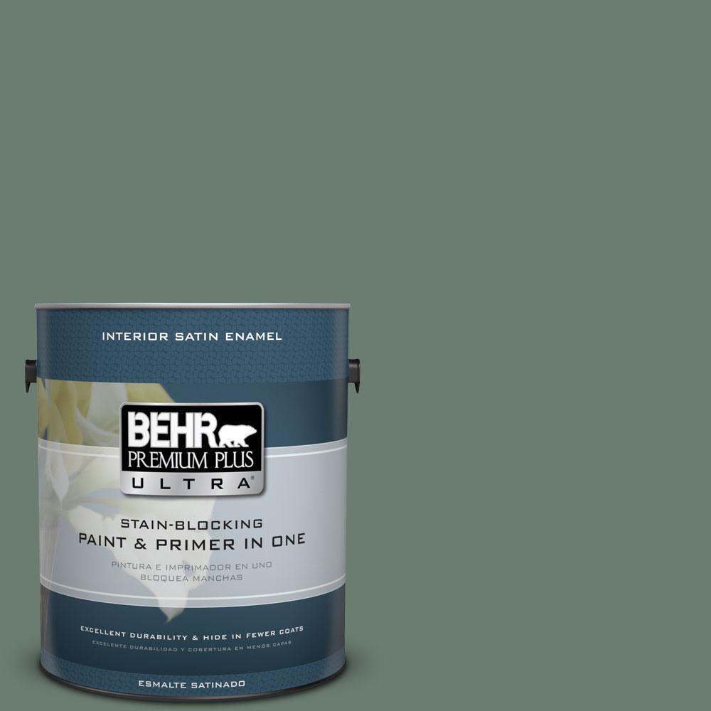 BEHR Premium Plus Ultra 1-gal. #460F-5 Island Palm Satin Enamel Interior Paint