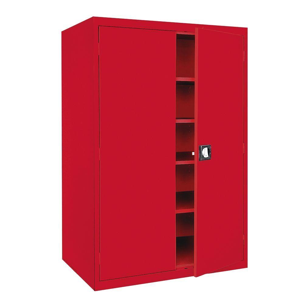Elite Series 78 in. H x 46 in. W x 24 in. D 5-Shelf Steel Fresstadning Storage Cabinet in Red