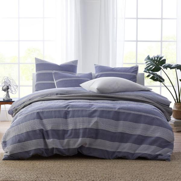 The Company Store Chambray Stripe Cotton King Duvet Cover in Blue/White