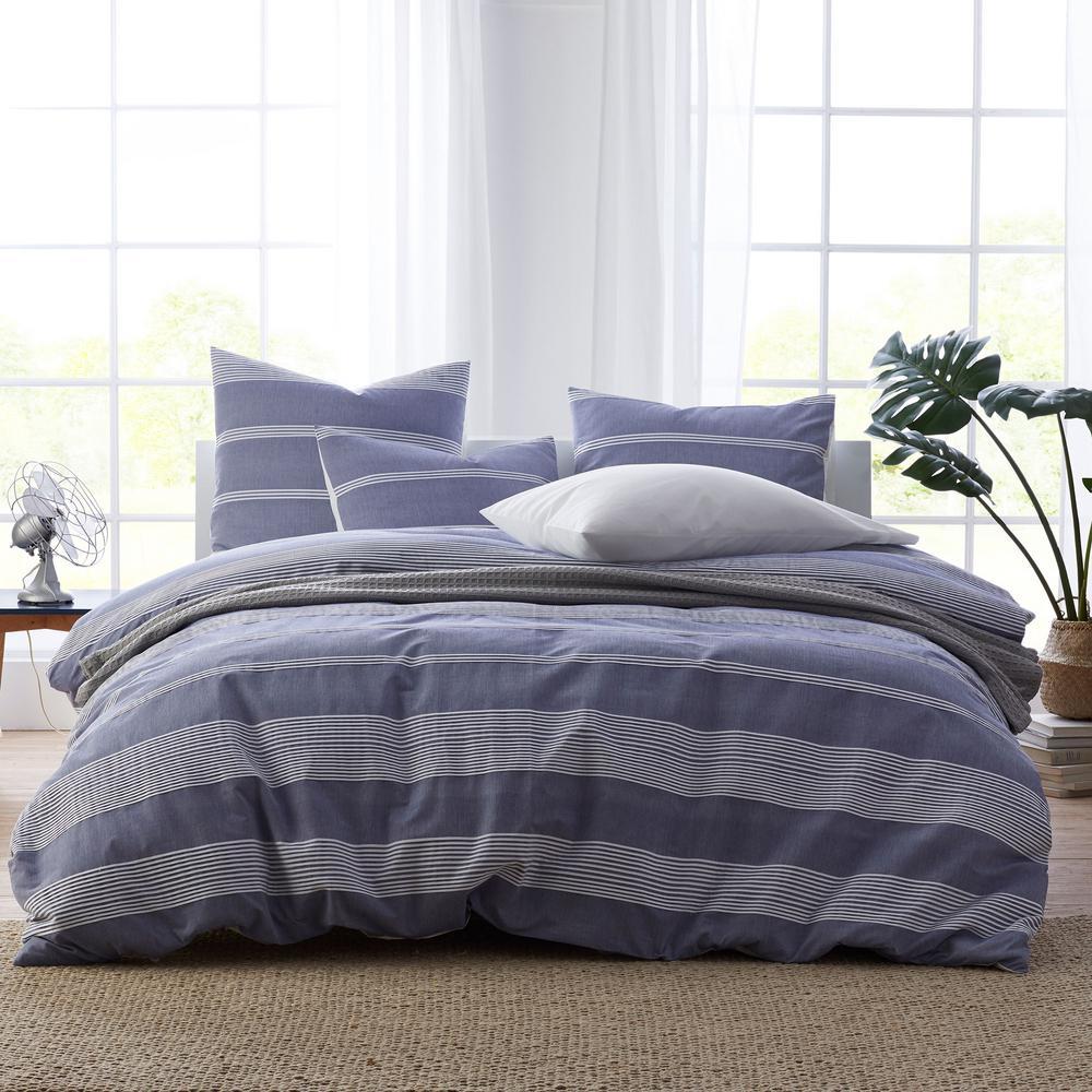 Chambray Stripe Blue/White Cotton King Duvet Cover