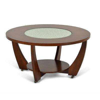 Rafael Merlot Cherry Round Cocktail Table With Casters