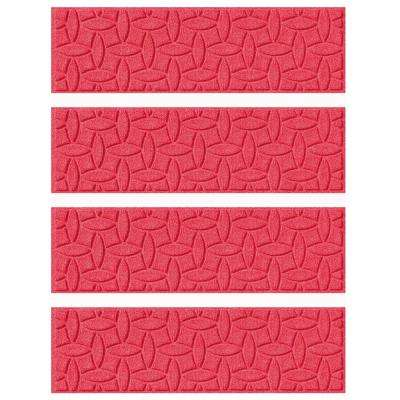 Red 8.5 in. x 30 in. Ellipse Stair Tread Cover (Set of 4)
