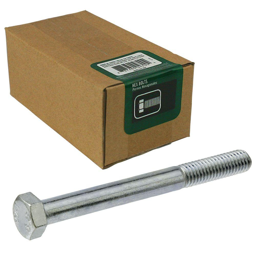 1/4 in. x 6 in. Zinc Hex Bolt (25-Pieces per Pack)