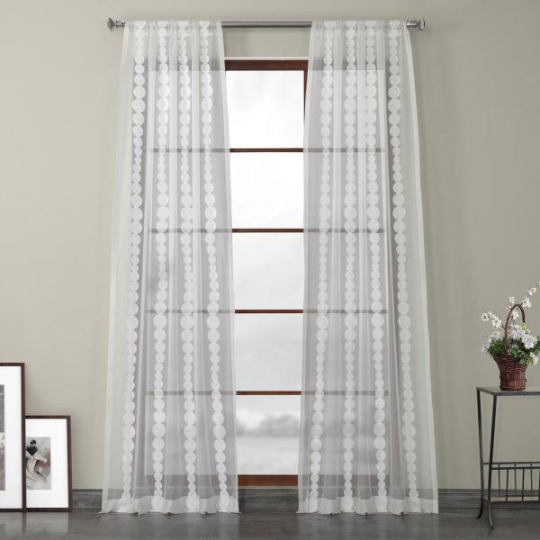 Cleopatra Cream White Embroidered Sheer Curtain - 50 in. W x 108 in. L