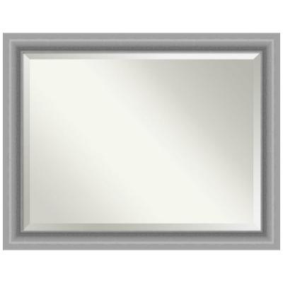 Medium Rectangle Peak Polished Silver Beveled Glass Casual Mirror (36 in. H x 46 in. W)
