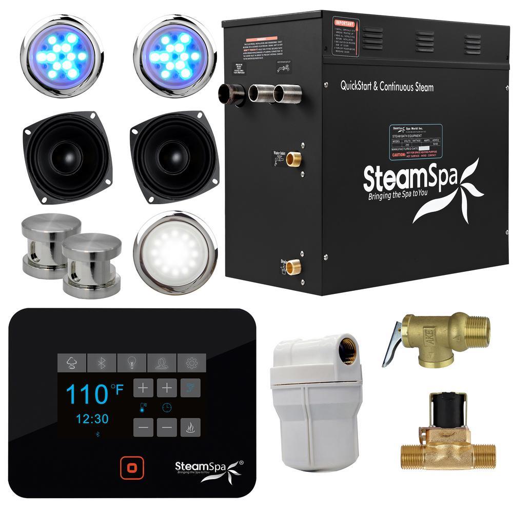 Black Series Bluetooth 12kW QuickStart Steam Bath Generator Package in Brushed Nickel
