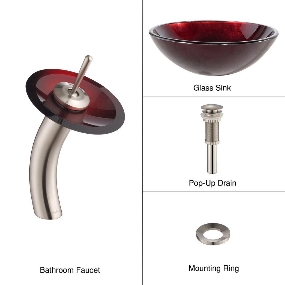 Kraus Irruption Glass Vessel Sink in Red with Single Hole...