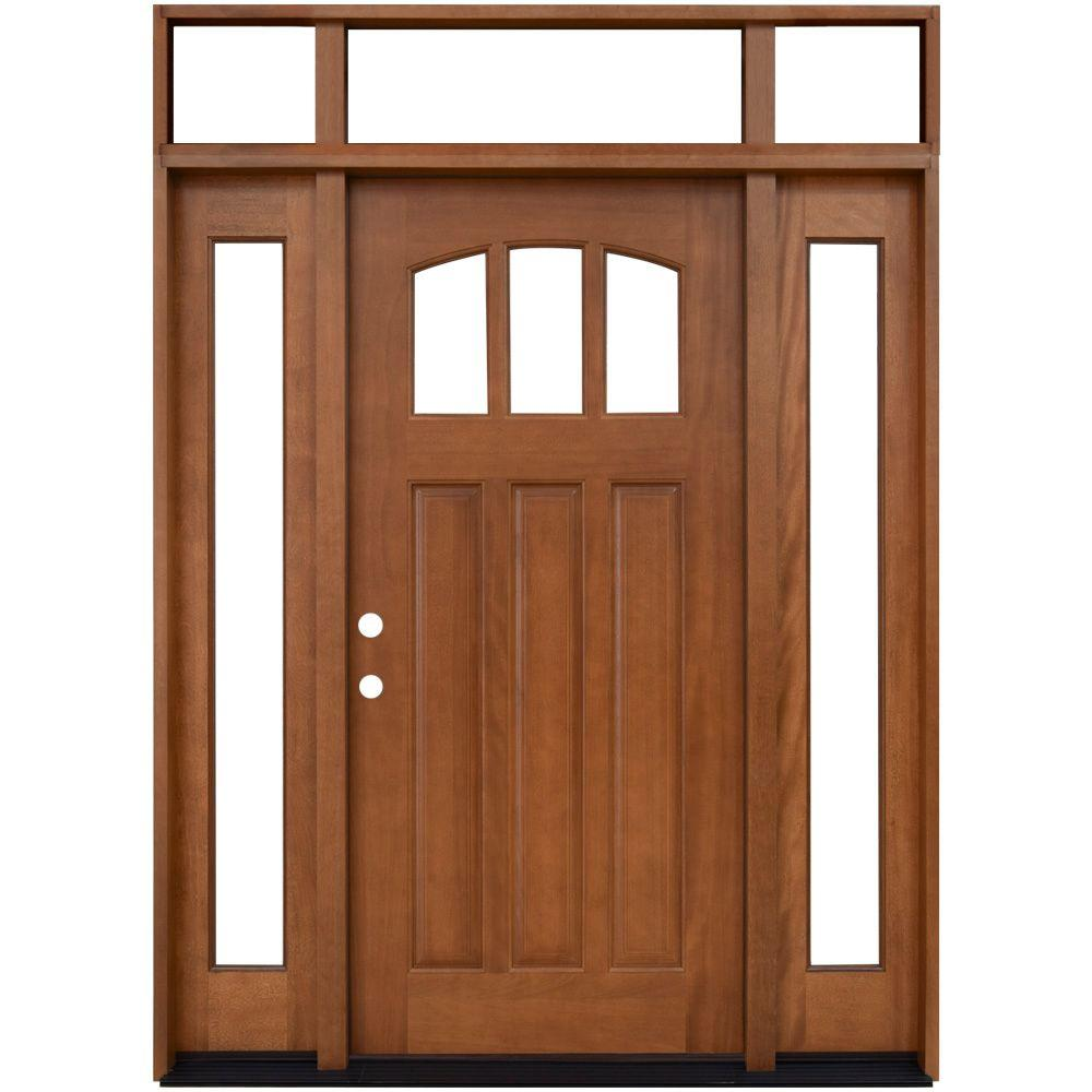 Steves Sons 64 In X 80 In Craftsman 3 Lite Arch Stained Mahogany Wood Prehung Front Door With Sidelites And Transom