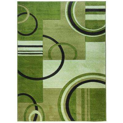 Ruby Galaxy Waves Green 8 ft. x 10 ft. Modern Geometric Area Rug