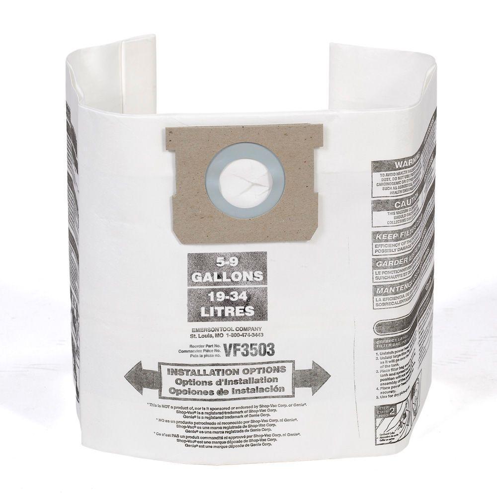 RIDGID High-Efficiency Dust Bags for Most 6 Gal. to 9 Gal. RIDGID Wet Dry Vacs & 5 Gal. to 8 Gal. Shop-Vac Wet Dry Vacs(2-Pack)