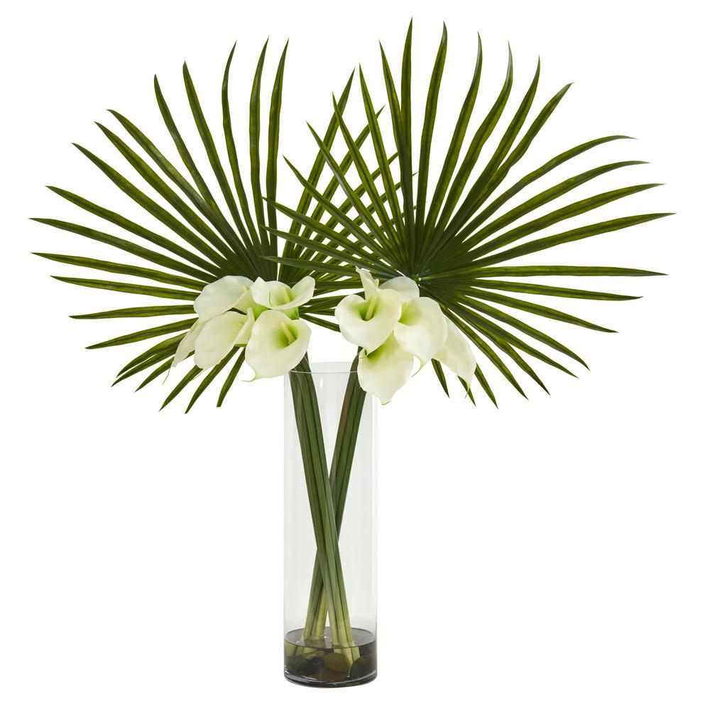 Nearly Natural Indoor Fan Palm And Calla Lily Artificial Arrangement
