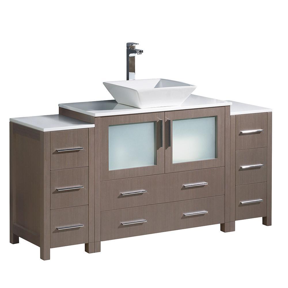 Torino 60 in. Bath Vanity in Gray Oak with Glass Stone Vanity Top in White with White Basin