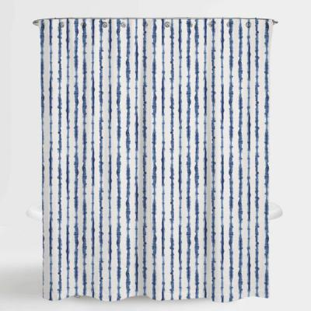 72 in. x 72 in. Tie Die Stripe Blue Neiman Water Repellent Shower
