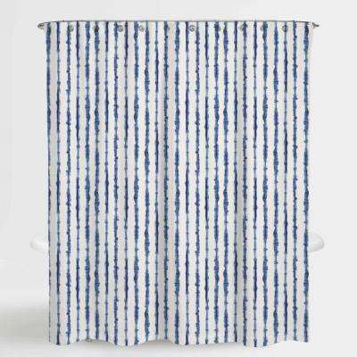 72 in. x 72 in. Tie Die Stripe Blue Neiman Water Repellent Shower