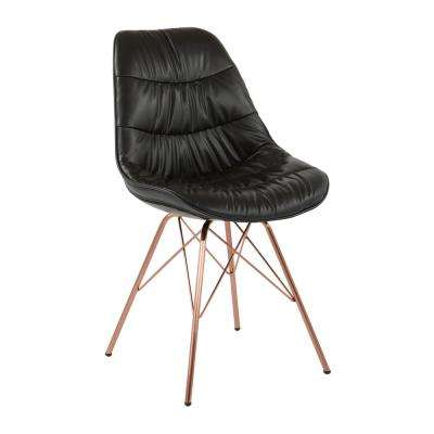 Langdon Black Faux Leather Chair with Rose Gold Base