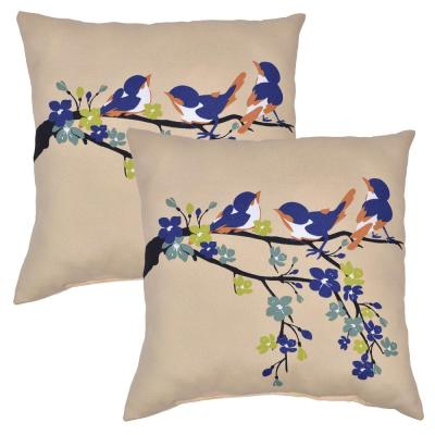Plantation Patterns Sand Chickadees Square Outdoor Throw Pillow (2 Pack)