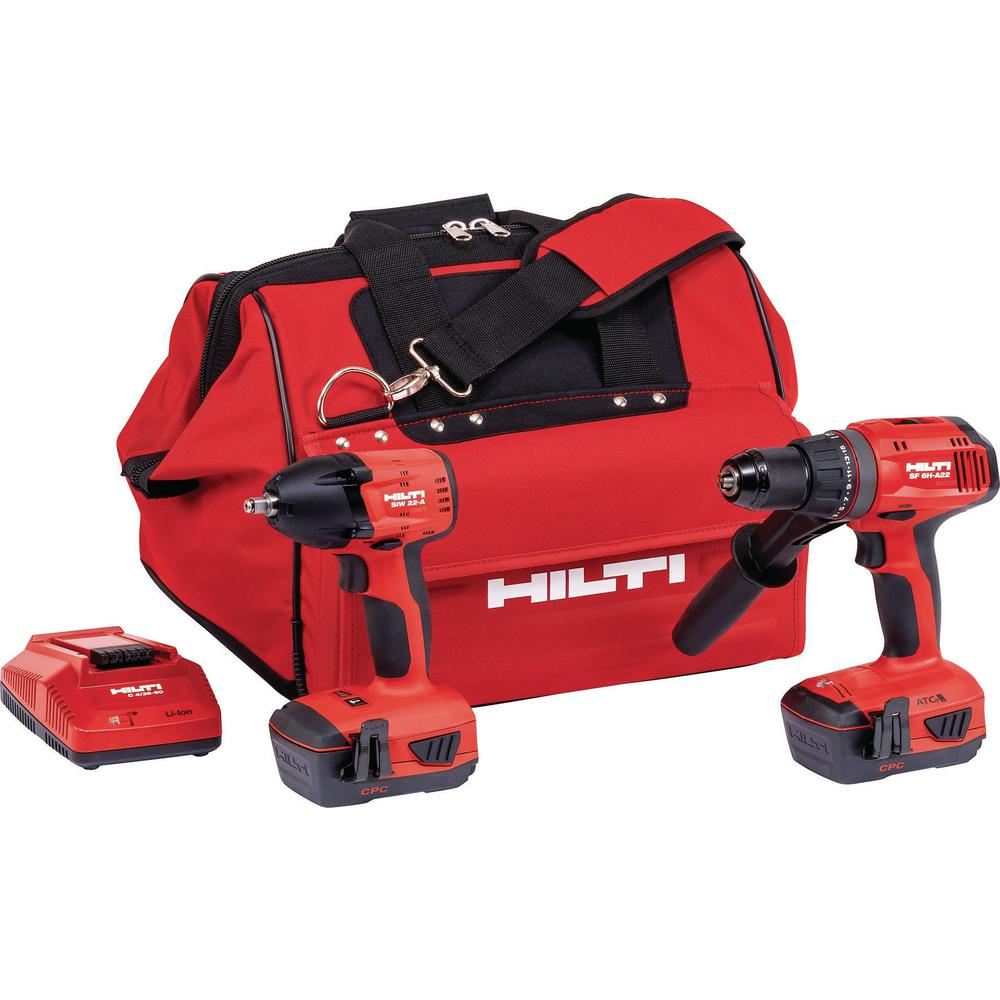 22-Volt Cordless Advanced Compact Hammer Drill Driver and Impact Wrench Includes