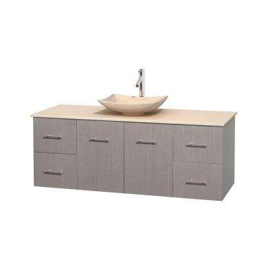 Centra 60 in. Vanity in Gray Oak with Marble Vanity Top in Ivory and Sink