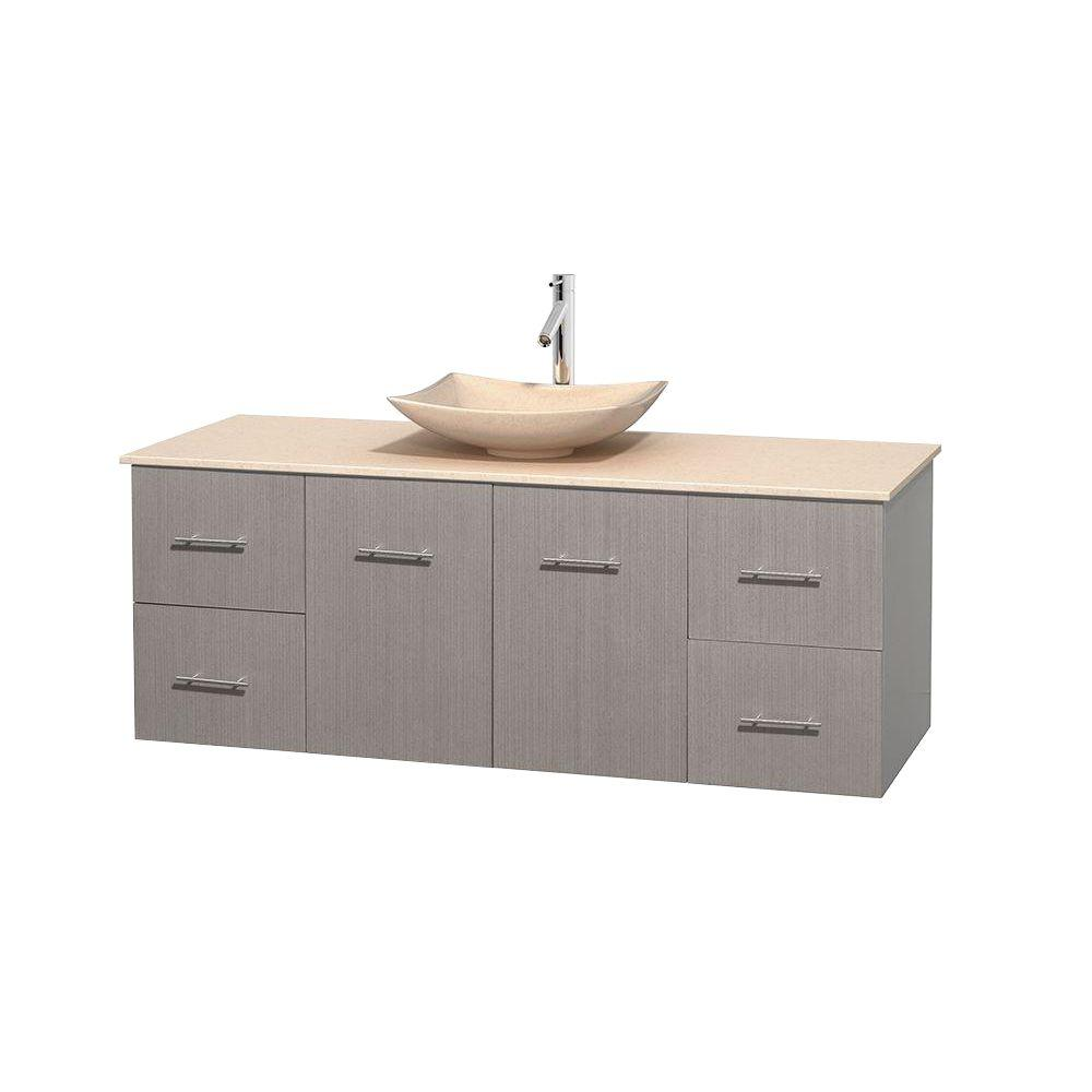 Wyndham Collection Centra 60 in. Vanity in Gray Oak with Marble Vanity Top in Ivory and Sink