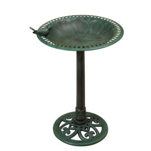 30 inch High Resin Birdbath with Verdigris by