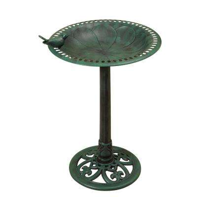 30 in. High Resin Birdbath with Verdigris