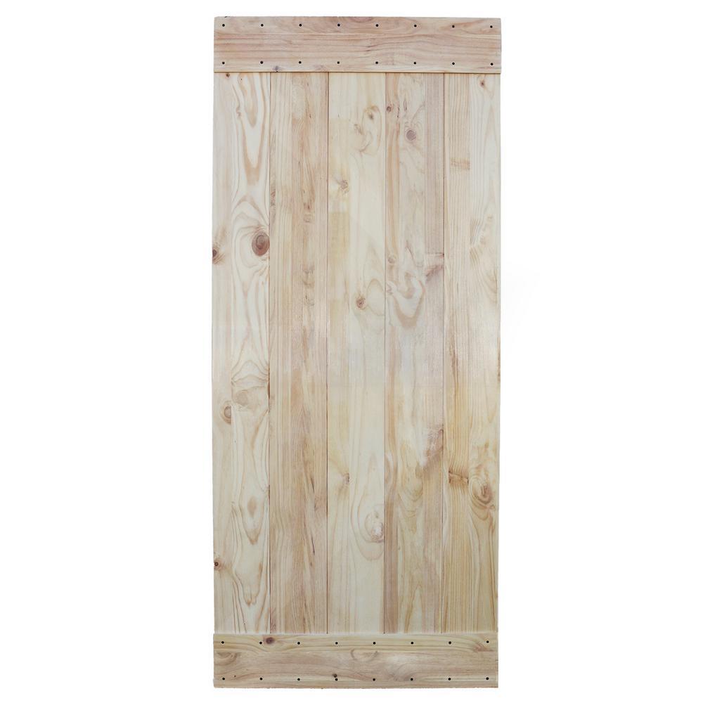 Unfinished 2 Side Knotty Pine Solid Wood Interior Barn Door Slab
