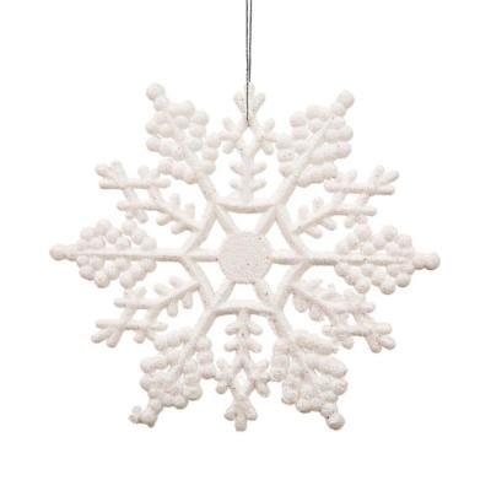 White Glitter Snowflake Christmas Ornaments (Pack of 24)
