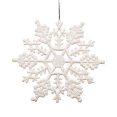White Glitter Snowflake Christmas Ornaments (Pack of 24)