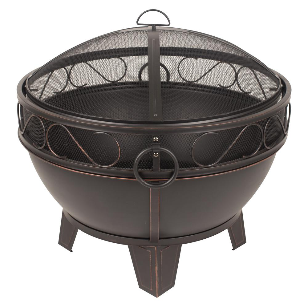 Pleasant Hearth Bellora 28 in. Steel Fire Pit in Rubbed Bronze with Cooking Grid