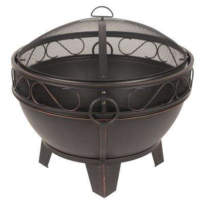 Bellora 28 in. Steel Fire Pit in Rubbed Bronze with Cooking Grid